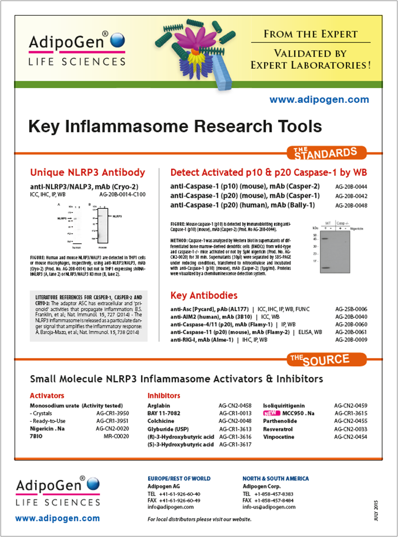 Key Inflammasome Research Tool Flyer 2015