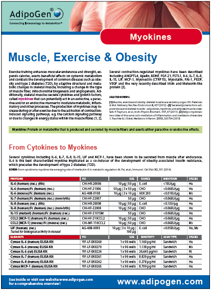 Myokines Product Flyer 2014