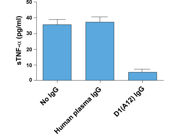 D1(A12) IgG inhibits constitutive shedding of TNF-α from IGROV1 (human ovarian cancer cell line) into culture medium. Medium was collected after 48 hours of incubation with or without IgGs at 200nM.